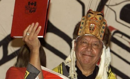 Nisga'a disaster | A 1998 file photo shows Nisga'a Tribal Council president Joseph Gosnell Sr. after signing the Nisga'a Final Agreement. | photo by Mike Blake