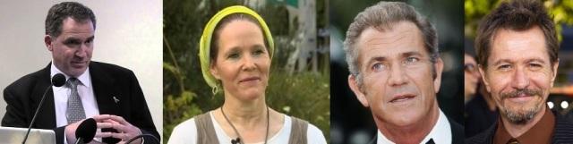 Miko Peled (http://bit.ly/1mxtst8), Rachel Fraenkel (http://bit.ly/1pYAMlv), Mel Gibson (http://bit.ly/VI8HRS), Gary Oldman (http://bit.ly/VI8Rsg)