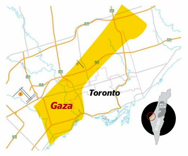 map of Gaza superimposed on map of Toronto