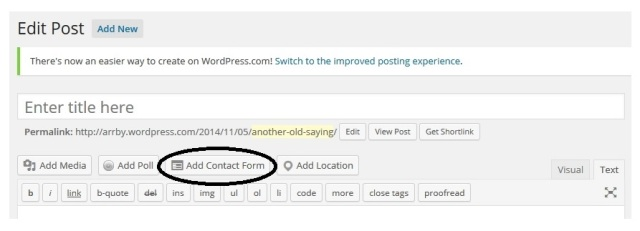WP add contact form button