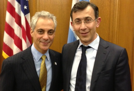 Ehab Al Shihabi, on the right, with fascist Chicago Mayor Rahm