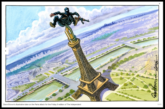 Dave Brown's take on the attack on Hebdo. You can have the pen or the sword. The time to care about the catastrophe is before it happens, not after.