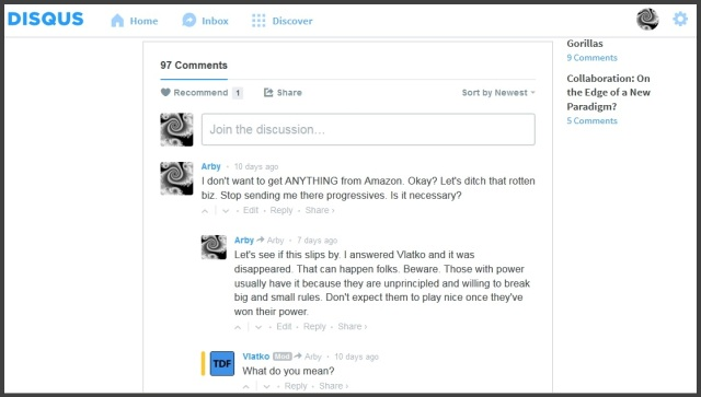 Amazon Disqus and my disappeared answer to Vlatko
