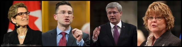 left to right: Kathleen Wynne (photo by Vince Talotta) Pierre Poilievre (photo by Justin Tang ) Stephen Harper (photo by Adrian Wyld ) Diane Ablonczy (photo by Patrick Doyle)