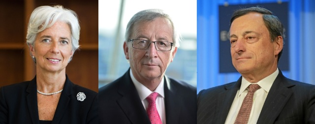 Christine Lagarde (Managing Director IMF - http://bit.ly/1CFMIdb) and Jean-Claude Juncker (President of the European Commission - http://bit.ly/1KlYujf) and Mario Draghi (President of the European Central Bank - http://bit.ly/1eWqb6S)