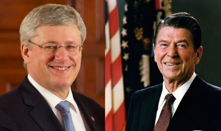 Stephen Harper and Ronald Reagan / photos from Wikipedia