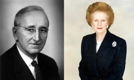 Friedrich Hayek and Margaret Thatcher / photos from Wikipedia