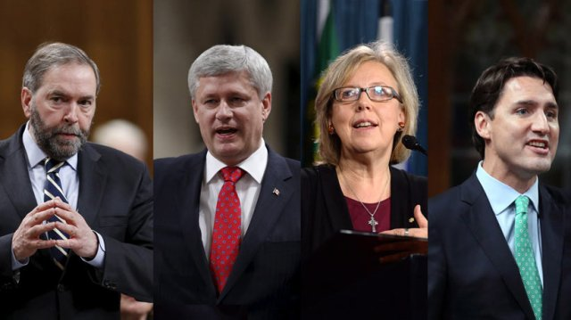 Thomas Mulcair, Stephen Harper, Elizabeth May, Justin Trudeau