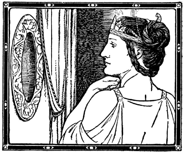 The Evil Queen And Her Magic Truth-Telling Mirror from the Snow White story by the Grimm Brothers