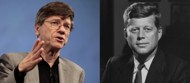 """Jeffrey Sachs and his idol and his cold war hero,  John F. Kennedy, who is the focus of Sachs's book """"To Move The World,"""" which, strangely, mystifies Japhy"""