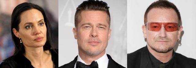 Sachs's 'class' mates: Angelina Jolie and Brad Pitt and Bono