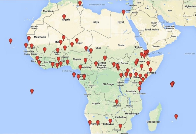 """""""There is no reason to believe that even this represents a complete accounting of America's growing archipelago of African outposts.  Although it's possible that a few sites are being counted twice due to AFRICOM's failure to provide basic information or clarification, the list TomDispatch has developed indicates that the U.S. military has created a network of bases that goes far beyond what AFRICOM has disclosed to the American public, let alone to Africans."""" - Nick Turse (http://bit.ly/1TG76Gc)"""