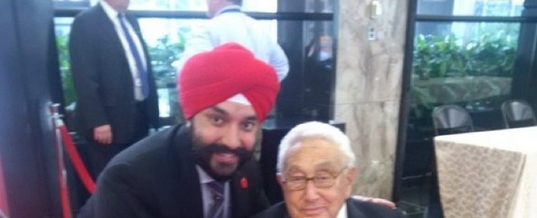 Navdeep Bains and Henry Kissinger