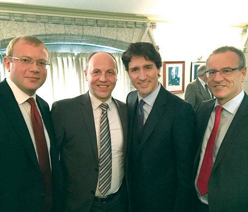 Trudeau, like Stephen Harper, just isn't put off by Nazis, clearly. To his immediate left is Ukraine's newly appointed speaker of the parliament, Andriy Parubiy, a Nazi.