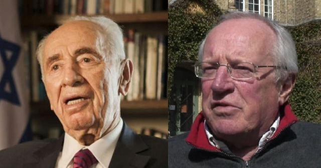 Shimon Peres (photo from AP) and Robert Fisk (photo from YouTube)