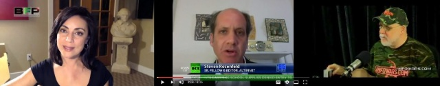 Sibel Edmonds (http://bit.ly/2j06gpR) and Steven Rosenfeld (YouTube screen grab) and Kurt Nimmo (YouTube screen grab)