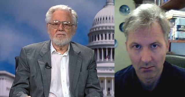 William Blum (photo courtesy of RT News) and Kim Petersen (http://bit.ly/2mazh45)